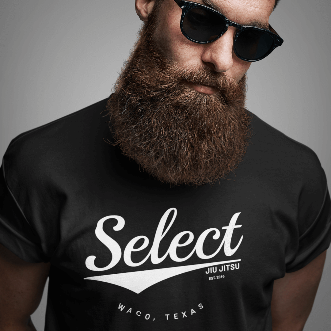 Bearded guy wearing a black select retro t-shirt